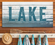 Lake Sign - Large Canvas Not Printed On Wood - Stretched On A Heavy Wood Frame