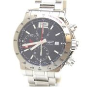 Longines Watch Admiral Chrono Ss L3.670.4 Black Stainless [i0214]from Japan