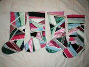 4 Victorian Christmas Stockings Crazy Quilt Unsewn Handmade Vintage Satin Ribbon