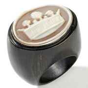Hsn Amedeo Sterling Silver Cameo Imperial Crown Wood Band Ring Size 5 598