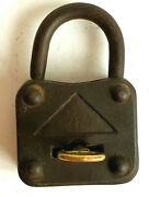 Antique Cast Iron Padlock With Double Lock And Bronze Key Working 1900 - 1920