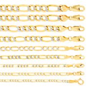 10k Yellow Gold Solid 2mm-12mm Diamond Cut Pave Figaro Chain Necklace 16- 30