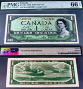 World Famous Devils Face Banknote- Bc-29a Bank Of Canada 1954 1 Pmg 66 Gem Unc