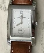 Swiss Baume And Mercier Timepiece Watch Stainless Steel Case, White Dial, Leather