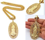 14k G0ld Filled Virgin Mary Guadelupe Stainless Steel Cuban Chain Necklace