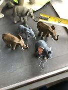 Schleich Elephant And Various Other Plastic Elephants Lot Animals Over 20