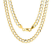 14k Yellow Gold Solid 7mm Diamond Cut Pave Cuban Curb Chain Necklace 20- 30