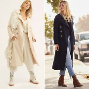 Free People Double Breasted Ribbed Overcoat Coat Nwt Xs S Ivory Navy Blue Lined