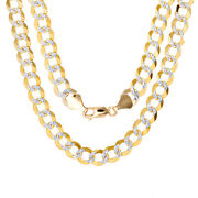 14k Yellow Gold Solid Mens 8.5mm Diamond Cut Pave Curb Cuban Chain Necklace 20