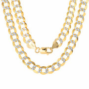10k Yellow Gold Solid 10mm Men Diamond Cut Pave Cuban Curb Chain Necklace 22-30