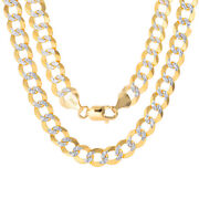 10k Yellow Gold Solid Mens 10mm Diamond Cut Pave Cuban Curb Chain Necklace- 30