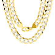 10k Yellow Gold Solid Mens 11.5mm Diamond Cut Pave Cuban Curb Chain Necklace 24