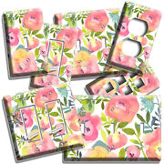 Pink Roses Watercolor Flowers Light Switch Outlet Wall Plates Floral Room Decor