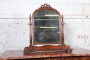 Baker Furniture French Provincial Carved Mahogany Dresser Top Swing Mirror