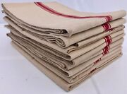 Set Of Nine Large French Thick Linen Kitchen Towels/napkins, 1950s