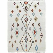 Moroccan 9x13 Ivory Wool Hand-knotted Geometric Oriental Natural Color Area Rug
