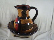 Hand Made And Painted Pitcher And Bowl Signed Bernardo Picasso Cabo San Lucas