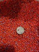 Red White Heart 1000 Gm-african Indian Trade Beads-murano Venetian Vintage Glass
