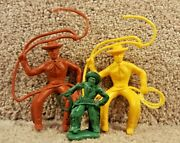 Lot Of 3 1960's Marx Vinyl Western Town Play Set Mounted Cowboys With Lasso