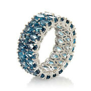 Hsn Victoria Wieck London Blue Topaz Sterling Double Row Eternity Band Ring 10