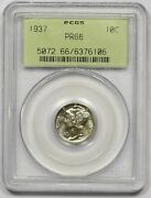 1937 Pcgs Pf-66 Ogh Mercury Dime Nicely Struck Flashy Proof Clean Coin