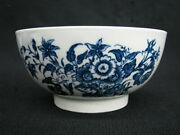 18th Century Caughley Salopian Flowers And Butterflies Waste Bowl 1770-1780