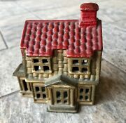 Vintage A.c. Williams Cast Iron Tiny Colonial House Still Coin Bank