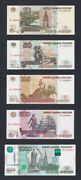 Russia Serial Number 4 Set 1050100500 And 1000 Rubles Unc Pick 268c-272d