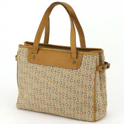 Celine Tote Bag Macadam Beige Canvas � Leather Auth Used T16817
