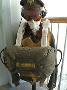 Original Wwii Parachute Chest Pack And High Quality Repro Harness Exc For Display