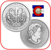 2020 Canada - Creatures Of The North - Kraken 2 Oz Silver Coin In Capsule