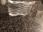 """Steuben """"america The Beautiful"""" Signed American Flag Paperweight Crystal Beauty"""