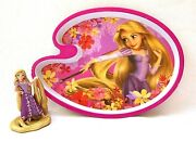 Disney Rapunzel Tangled Collectible Plastic Plate And 4 Figure Cake Topper