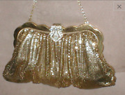 Vintage Whiting And Davis Gold Metal-mesh Clutch Purse With Rhinestone Clasp