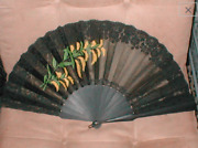 Antique Hand Painted Silk And Lace Folding Fan Circa 1800and039s