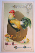 Postcard Easter Wishes Big Cock With Baby Chicks Embossed Germany 1912 Card 1735