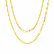 14k Yellow Gold Solid 3.5mm Round Franco Wheat Chain Pendant Necklace 16- 30