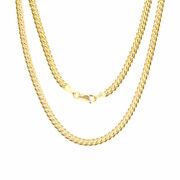10k Yellow Gold Solid Real 4mm Miami Cuban Link Chain Pendant Necklace 18- 30