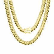 10k Yellow Gold Solid 7mm Mens Miami Cuban Chain Pendant Necklace Box Clasp 20