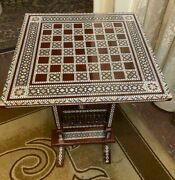 Antique Chess Table Inlaid Mother Of Pearl 16