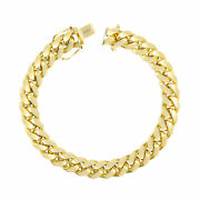 10k Yellow Gold Solid Mens 9mm Miami Cuban Link Chain Bracelet Safe Box Clasp 9