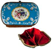 Antique French Or Viennese Kiln-fired Enamel Coin Purse, Celeste Blue And Flowers