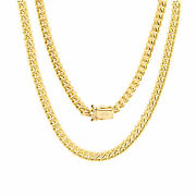 14k Yellow Gold Solid 5mm Miami Cuban Link Chain Pendant Necklace Box Clasp 22