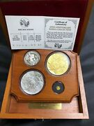 1991 China Mint 10th Anniversary Panda 4 Coin Proof Gold And Silver Set