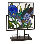 Lighted Stained Glass Hummingbird And Iris Panel