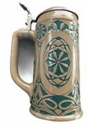 Rare C.1900 Floral Green On Brown Gerz Beer Stein 1147 Free Shipping