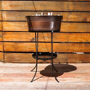 Brekx Aspen Hammered Beverage Tub - Copper Finish With 28 Iron Stand