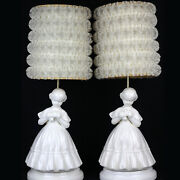 Vintage Lamp + Shade Pair White Victorian Girl Woman Lady Ruffle Lace Works