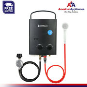 Camplux 5l 1.32 Gpm Outdoor Portable Propane Tankless Water Heater, Black