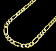 14k Yellow Gold Mens Diamond Cut Figaro Pave Chain Necklace